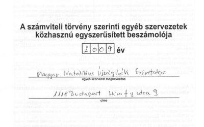 A MAKÚSZ 2009-es közhasznúsági beszámolója